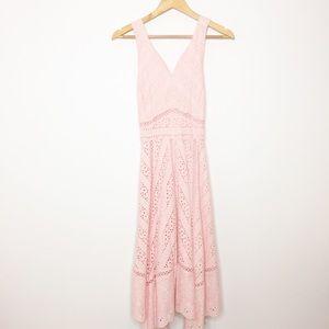 ANTONIO MELANI soft pink Eyelet midi dress 2